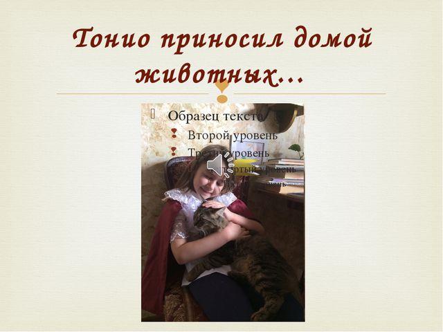 Тонио приносил домой животных… 