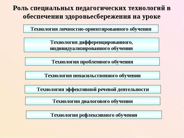 Роль специальных педагогических технологий в обеспечении здоровьесбережения н...