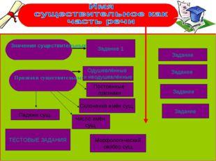 Значения существительных Признаки существительных Задание 1 ТЕСТОВЫЕ ЗАДАНИЯ