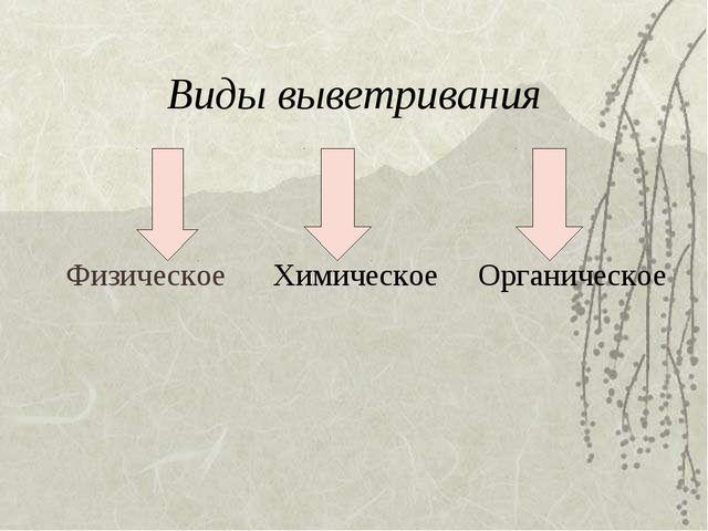 Виды выветривания Физическое Химическое Органическое