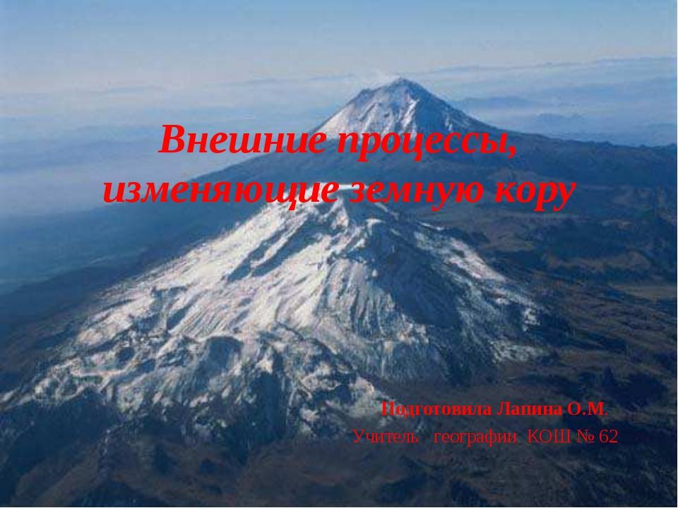 Внешние процессы, изменяющие земную кору Подготовила Лапина О.М. Учитель геог...