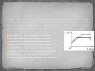 1) У вещества «1» больше удельная теплоёмкость и температура плавле