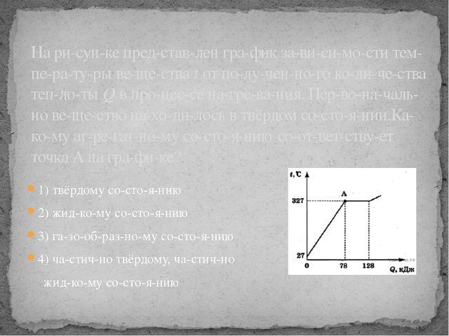 1) твёрдому состоянию 2) жидкому состоянию 3) газообразному сос...