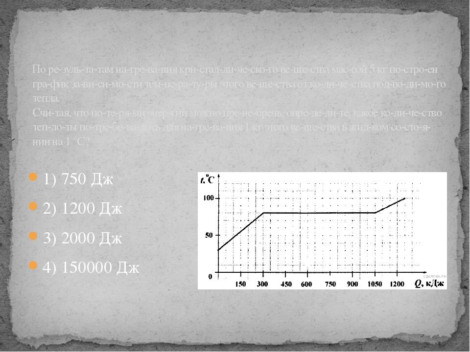 1) 750 Дж 2) 1200 Дж 3) 2000 Дж 4) 150000 Дж По результатам нагревания...