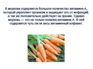 В моркови содержится большое количество витамина А, который укрепляет организ