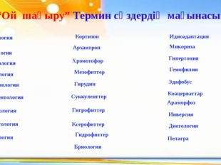 "ІV. ""Ой шақыру"" Термин сөздердің мағынасын ашу Барахнология Герпетология Мико"
