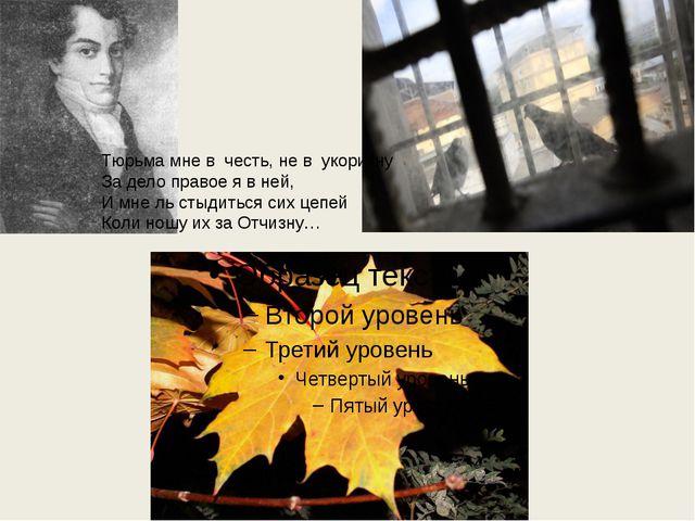 Тюрьма мне в честь, не в укоризну За дело правое я в ней, И мне ль стыдиться...