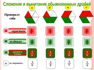 красным – не закрашена – зелёным – Проверьте себя a) б) в) a) б) в) г) красны