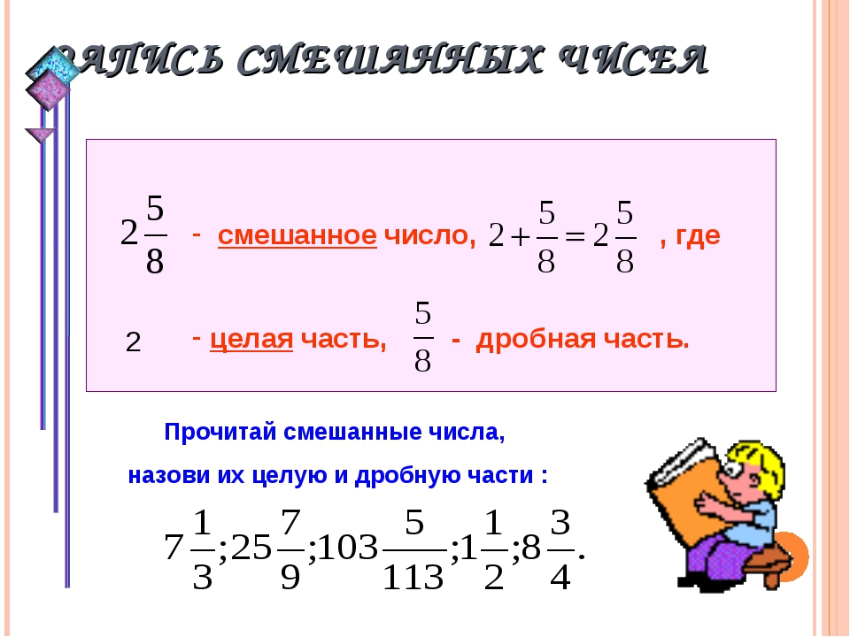 ЗАПИСЬ СМЕШАННЫХ ЧИСЕЛ * смешанное число, , где целая часть, - дробная часть....