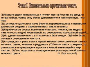 (1)Я много видел живописных и глухих мест в России, но вряд ли когда-нибудь у