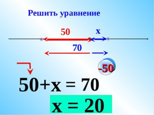 х 70 50 х = 20 50+х = 70 -50 Решить уравнение