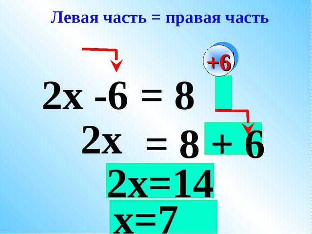 2х -6 2х = 8 = 8 + 6 Левая часть = правая часть +6 2х=14 х=7
