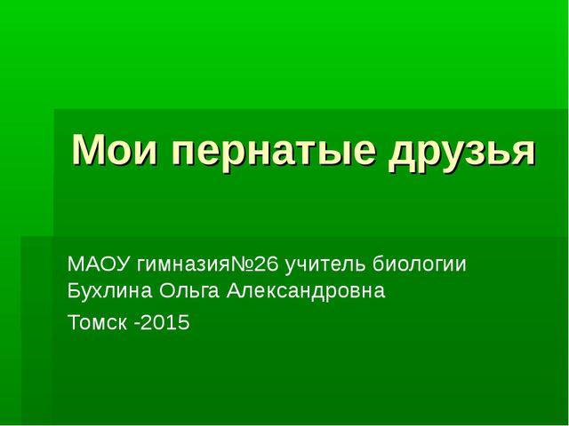 Мои пернатые друзья МАОУ гимназия№26 учитель биологии Бухлина Ольга Александр...