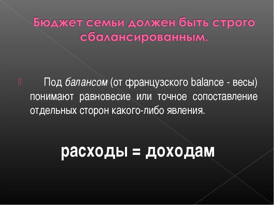 Под балансом (от французского balance - весы) понимают равновесие или точн...