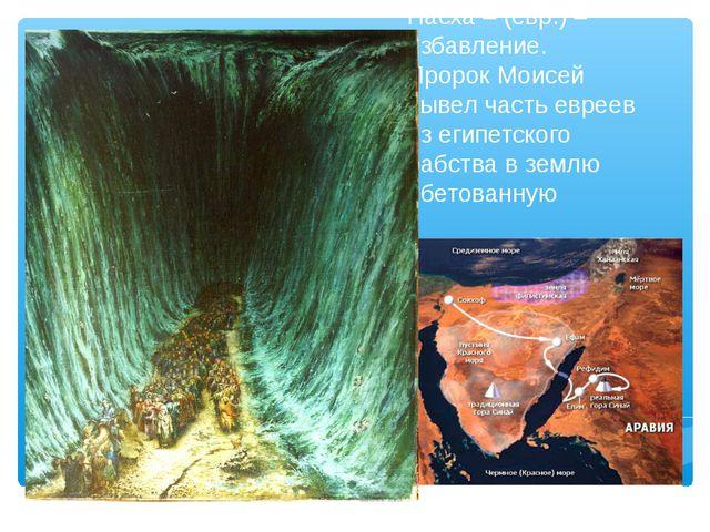 Пасха – (евр.) – избавление. Пророк Моисей вывел часть евреев из египетского...