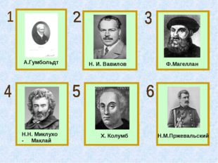 А.Гумбольдт Н. И. Вавилов Ф.Магеллан Н.Н. Миклухо - Маклай Х. Колумб Н.М.Прже