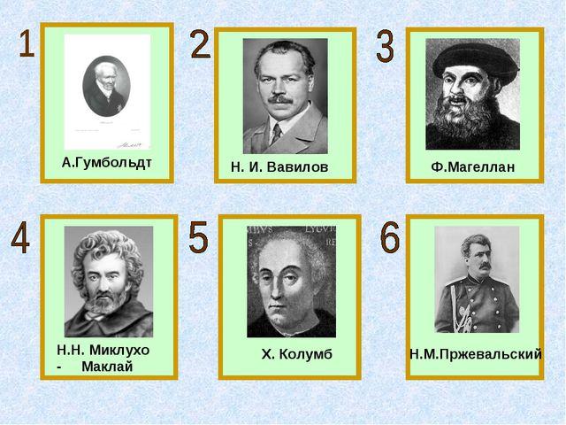 А.Гумбольдт Н. И. Вавилов Ф.Магеллан Н.Н. Миклухо - Маклай Х. Колумб Н.М.Прже...
