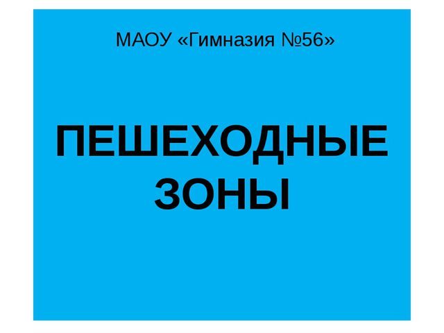 ПЕШЕХОДНЫЕ ЗОНЫ МАОУ «Гимназия №56»
