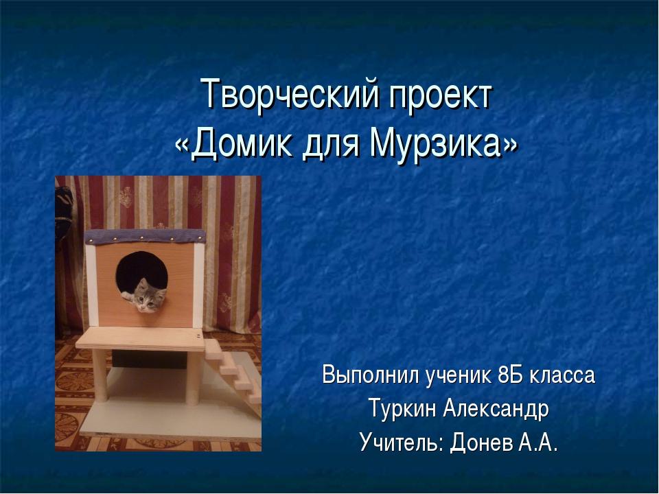 Творческий проект «Домик для Мурзика» Выполнил ученик 8Б класса Туркин Алекса...