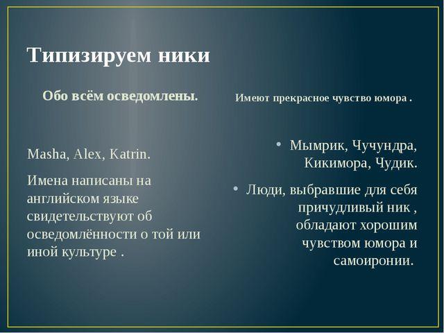 Типизируем ники Обо всём осведомлены. Masha, Alex, Katrin. Имена написаны на...