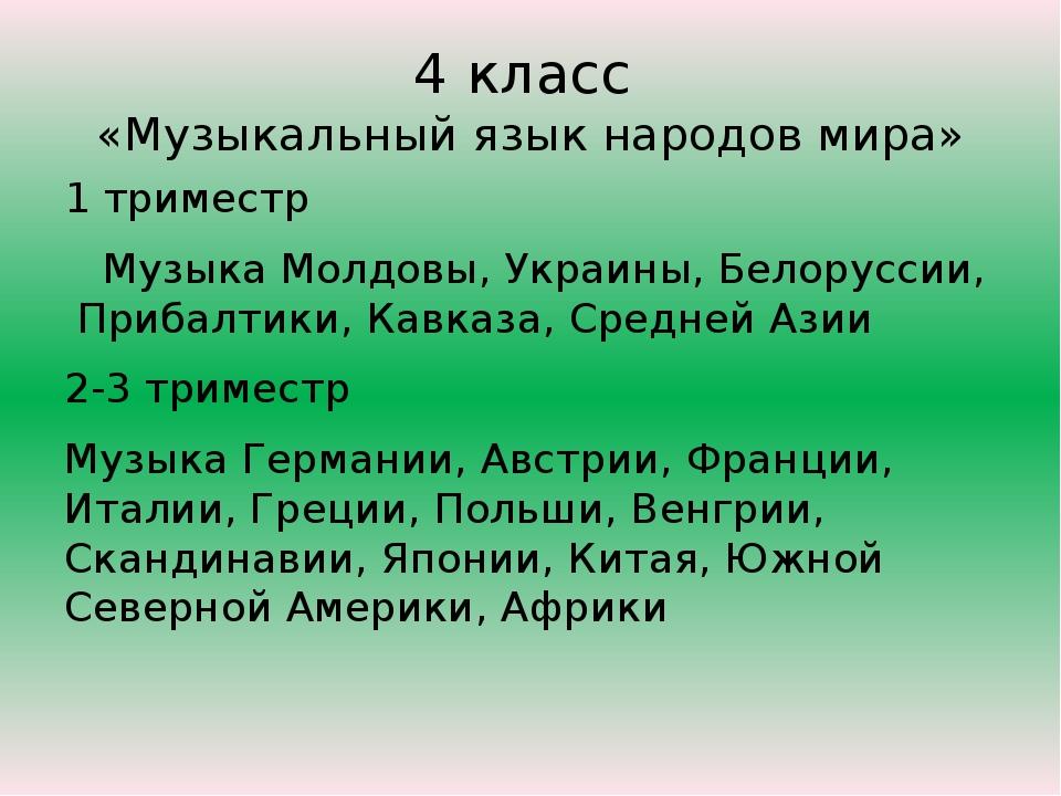 4 класс «Музыкальный язык народов мира» 1 триместр Музыка Молдовы, Украины, Б...