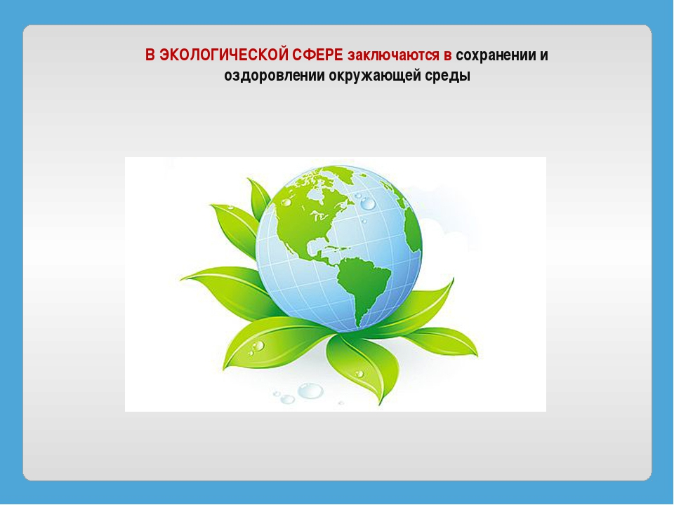 В ЭКОЛОГИЧЕСКОЙ СФЕРЕ заключаются в сохранении и оздоровлении окружающей среды