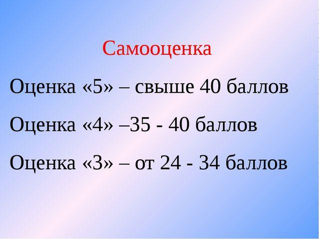 Самооценка Оценка «5» – свыше 40 баллов Оценка «4» –35 - 40 баллов Оценка «3»...