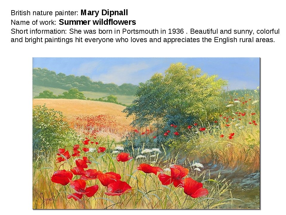 British nature painter: Mary Dipnall Name of work: Summer wildflowers Short i...