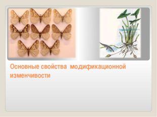 Основные свойства модификационной изменчивости