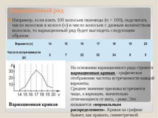 Вариационный ряд Например, если взять 100 колосьев пшеницы (n=100), подсчит
