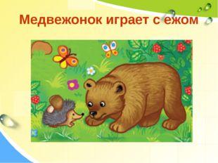 Медвежонок играет с ежом