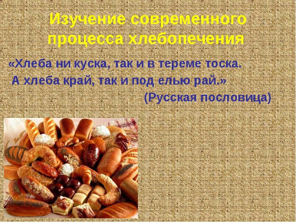 Изучение современного процесса хлебопечения «Хлеба ни куска, так и в тереме т...