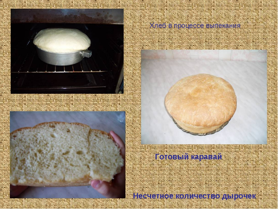 Несчетное количество дырочек Готовый каравай Хлеб в процессе выпекания