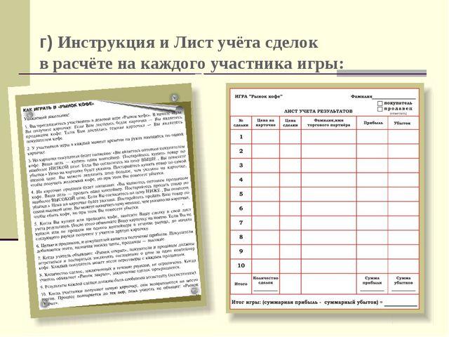 Богоева О.А. г) Инструкция и Лист учёта сделок в расчёте на каждого участника...