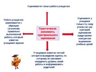 Практическая значимость критериального оценивания Работа учащегося сравнивает