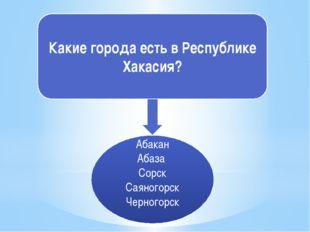 Какие города есть в Республике Хакасия? Абакан Абаза Сорск Саяногорск Черного