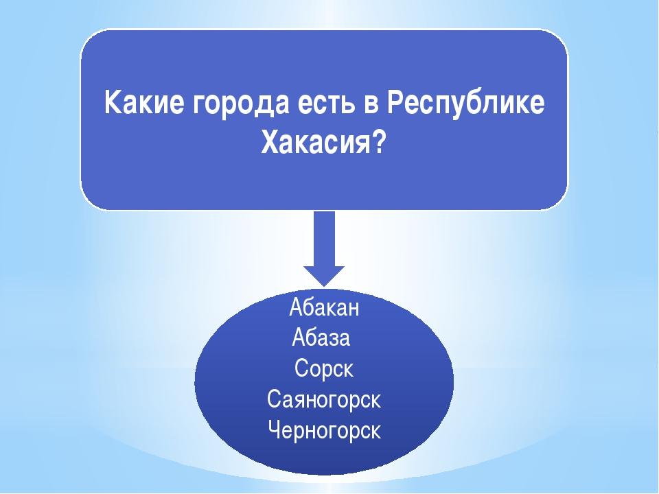 Какие города есть в Республике Хакасия? Абакан Абаза Сорск Саяногорск Черного...