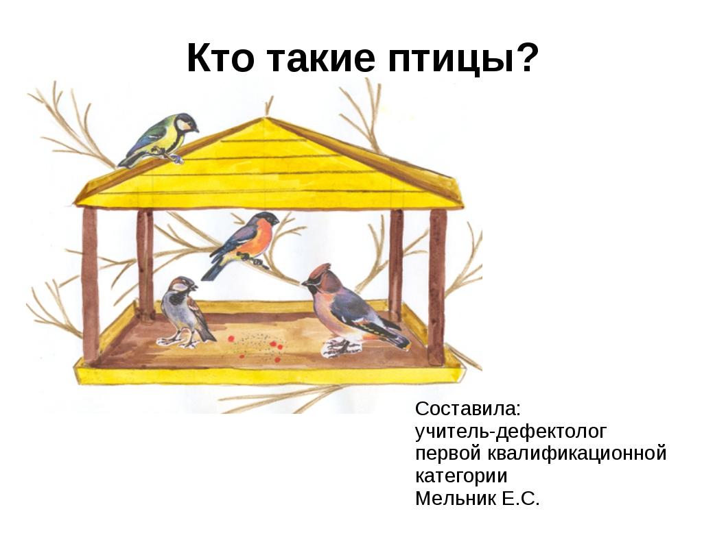 Кто такие птицы? Составила: учитель-дефектолог первой квалификационной катего...