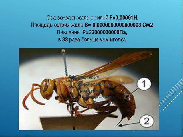 Оса вонзает жало с силой F=0,00001Н. Площадь острия жала S= 0,000000000000000...