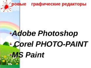 Растровые графические редакторы Adobe Photoshop Corel PHOTO-PAINT MS Paint