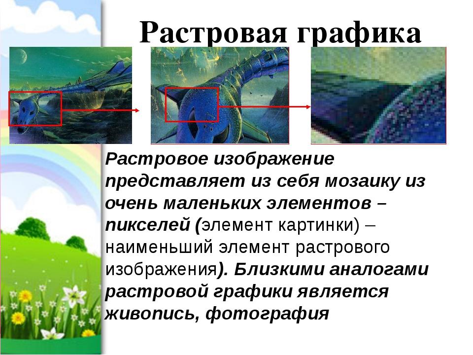Растровая графика Растровое изображение представляет из себя мозаику из очень...