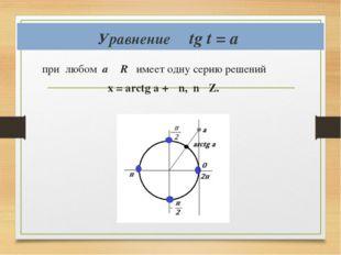 Уравнение tg t = a при любом а ϵ R имеет одну серию решений х = аrctg a + πn,