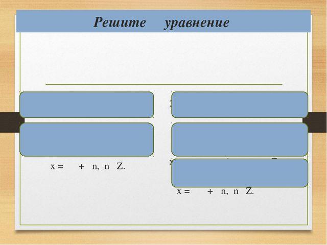 Решите уравнение 1) ctg x = 1  х = аrcctg 1 + πn, nϵ Z, х = + πn, nϵ Z. 2) c...