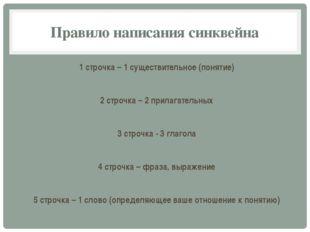 Правило написания синквейна 1 строчка – 1 существительное (понятие) 2 строчка