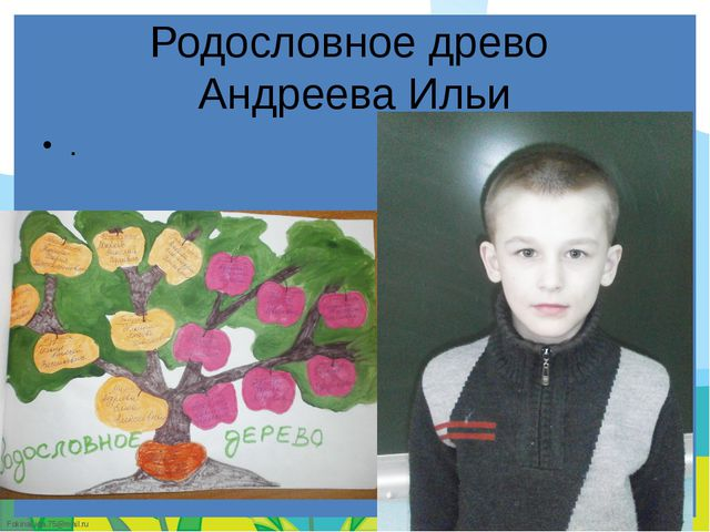Родословное древо Андреева Ильи . FokinaLida.75@mail.ru
