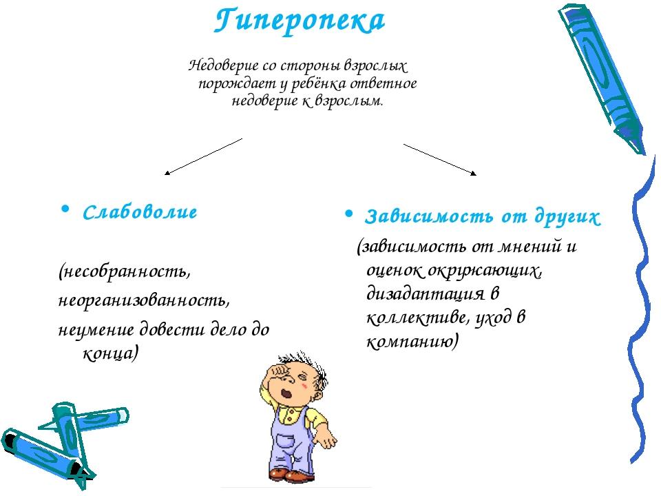 Гиперопека Недоверие со стороны взрослых порождает у ребёнка ответное недовер...