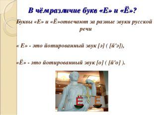 В чём различие букв «Е» и «Ё»? Буквы «Е» и «Ё»отвечают за разные звуки русско