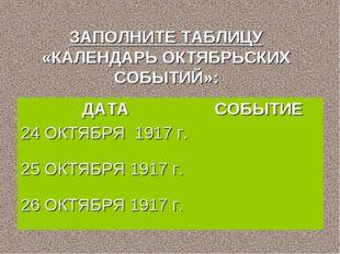 ЗАПОЛНИТЕ ТАБЛИЦУ «КАЛЕНДАРЬ ОКТЯБРЬСКИХ СОБЫТИЙ»: ДАТАСОБЫТИЕ 24 ОКТЯБРЯ 19