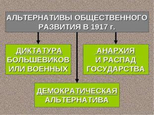 АЛЬТЕРНАТИВЫ ОБЩЕСТВЕННОГО РАЗВИТИЯ В 1917 г. ДИКТАТУРА БОЛЬШЕВИКОВ ИЛИ ВОЕНН