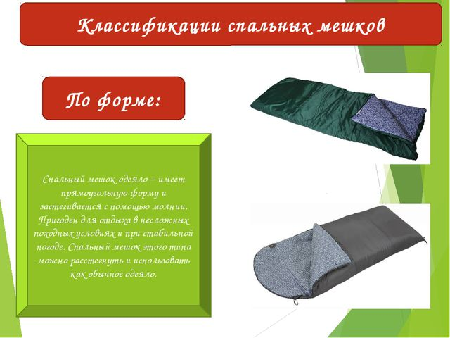 Классификации спальных мешков По форме: Спальный мешок-одеяло – имеет прямоуг...